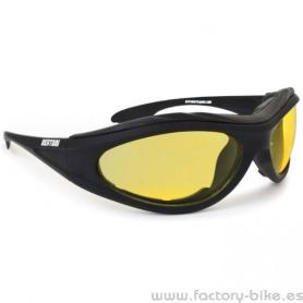 SUNGLASSES BERTONI RUBBER BLACK LENSES YELLOW