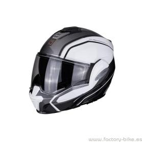 CASCO SCORPION EXO TECH TIME OFF BLANCO CON PLATA